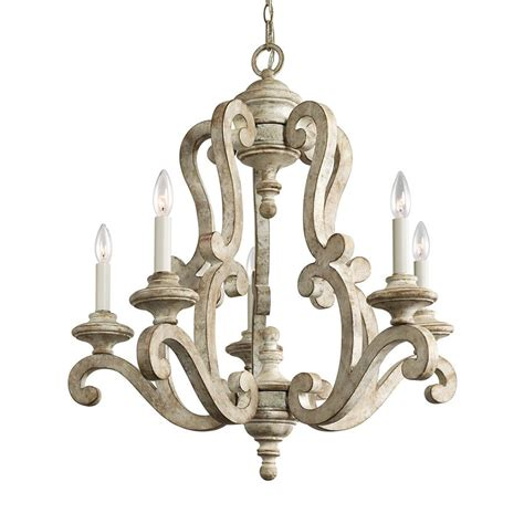 vintage white chandelier shop kichler hayman bay 5 light distressed antique white 3267