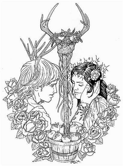 Pagan Moon Coloring Drawing Wiccan Pages Beltane