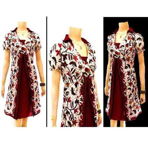 Kemeja Batik Hitam Cahyo Merah dress batik dengan model kerah kemeja lengan pendek kerut