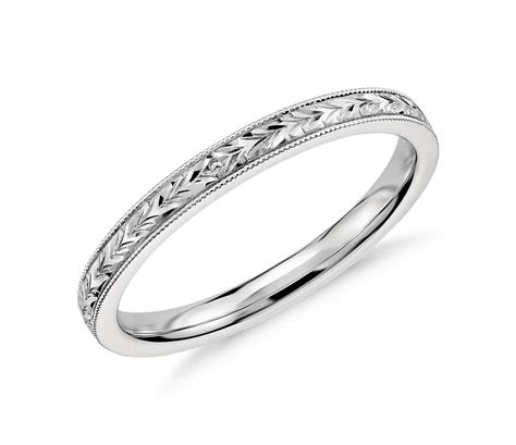 engraved wedding ring in 14k white gold blue nile