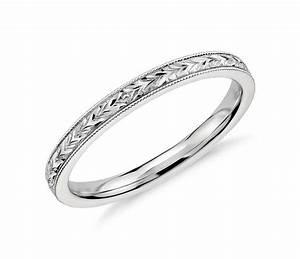 hand engraved wedding ring in 14k white gold blue nile With engraved wedding rings