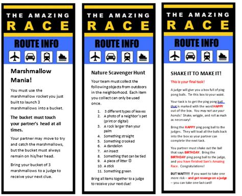 The Amazing Race Clue Template by Amazing Race 11th Birthday Profoundly Ordinary
