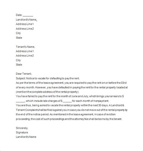 lease termination letter landlord  tenant template