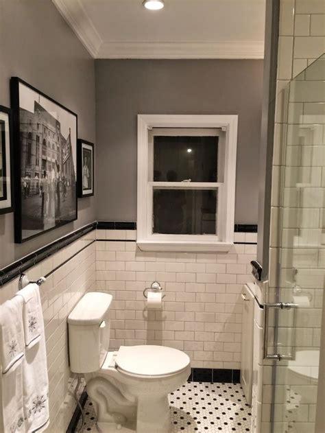 bathroom remodel subway tile penny tile floor