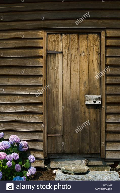 wooden plank door   fashioned latch  stepping