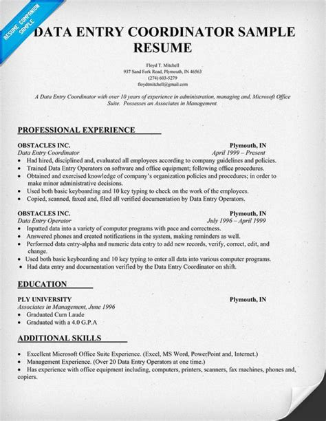 Data Entry Resume by Resume Resume Exles And Data Entry On