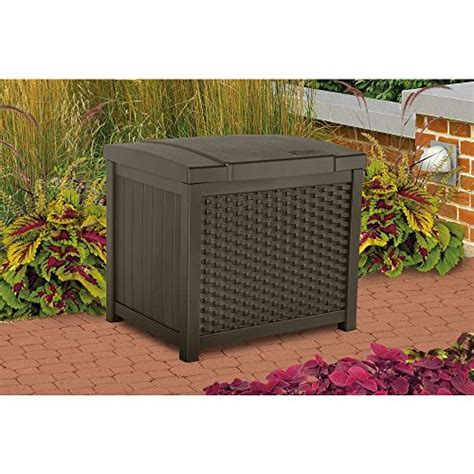 suncast wicker deck box 122 gallon suncast elements outdoor wicker cabinet dealtrend