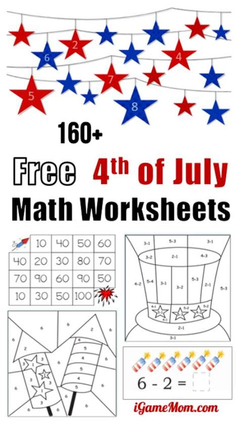 160 fourth of july printable math worksheets 752 | Free 4th of July math printable worksheets preschool to grade 5 students