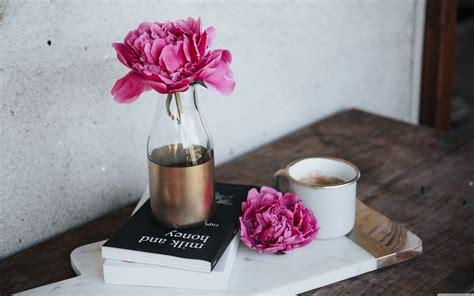 Good old coffee is a drink that many people love and drink every single day. Pink Peony Flower, Books, Coffee Mug, Wooden Table Ultra HD Desktop Background Wallpaper for 4K ...