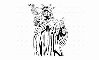 Liberty Statue Clipart Transparent Skull Drawing
