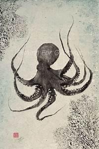 Buy a Hand Made Floating Octopus Gyotaku Print ...