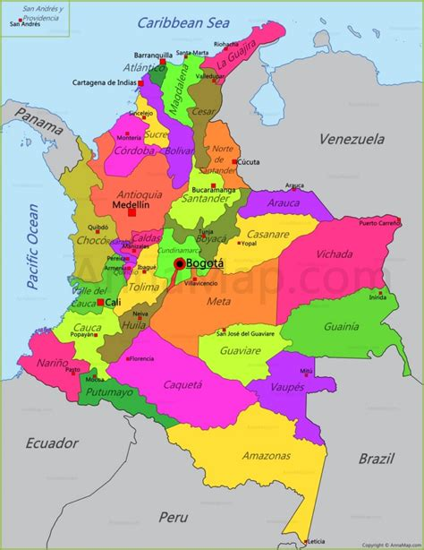colombia map map  colombia annamapcom