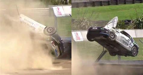 gt race car flips  roof  rolls  barrier