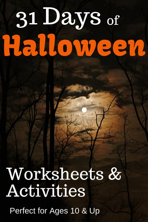 halloween worksheets activities  older kids