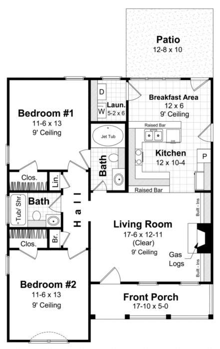 1000 sq ft floor plans traditional plan 1 000 square 2 bedrooms 2