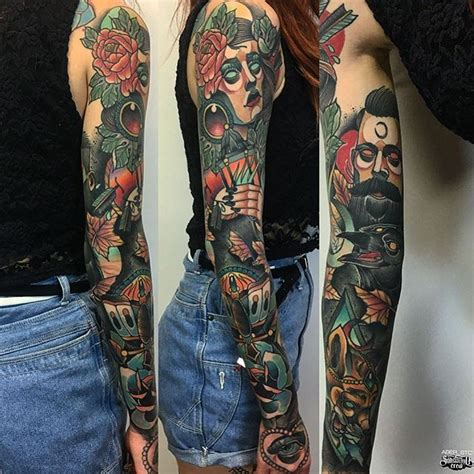 neotraditional color full sleeve tattoo  aber