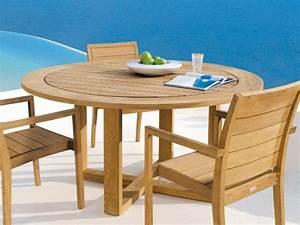 Table Ronde En Teck : siena table de jardin ronde by manutti ~ Teatrodelosmanantiales.com Idées de Décoration