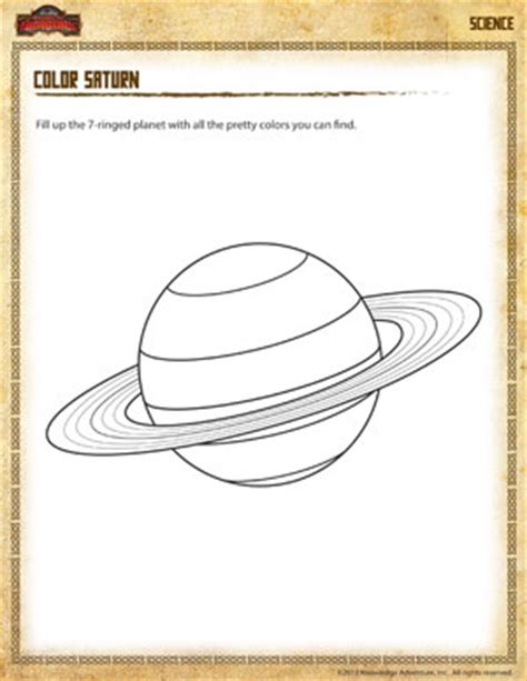 color saturn free 2nd grade science worksheet