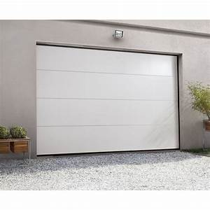 Porte de garage sectionnelle motorisee artens rainures for Porte de garage coulissante avec chatière porte pvc