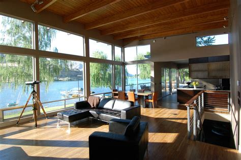 luxury contemporary house   river  washington
