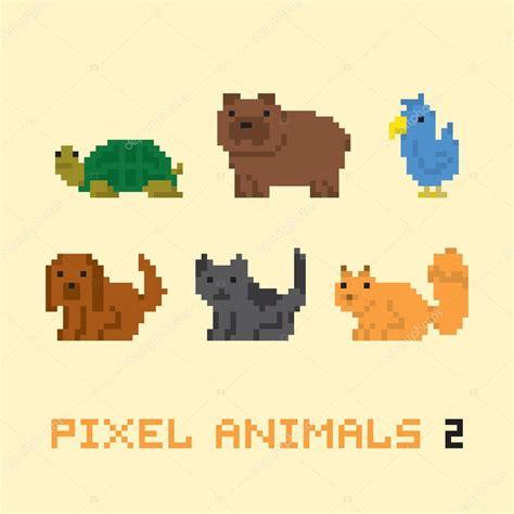 animaux de pixel art style cartoon set vector  image
