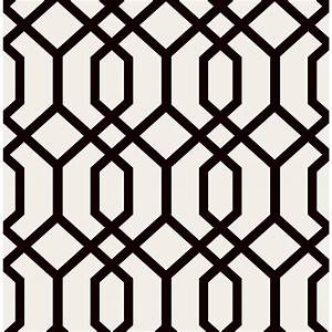 Brewster Trellis Black Montauk Wallpaper