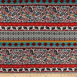 Rayon Challis Bohemian Prints Red/Mustard/Ivory - Discount