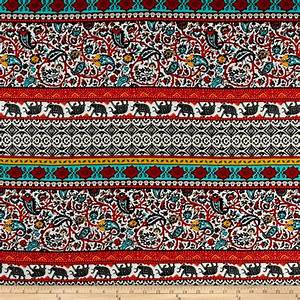 Rayon Challis Bohemian Prints Red/Mustard/Ivory - Discount ...