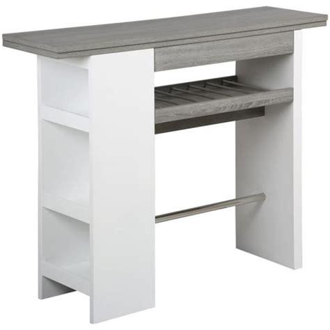 table bar de cuisine avec rangement table de bar avec rangement en mdf l 1400 x p achat