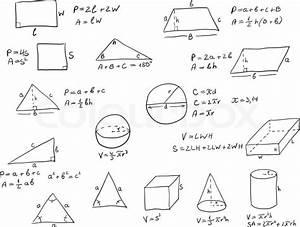 Geometrische Formen Berechnen : hintergrund mit hand geschrieben geometrie formeln und geometrische formen und zahlen auf wei em ~ Themetempest.com Abrechnung