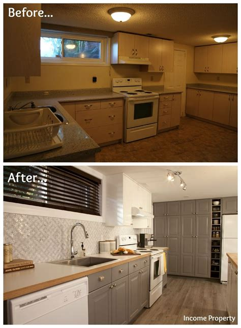 grungy basement kitchen   income property makeover