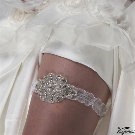Wedding Bridal Garter Organza Elastic Ribbon Beaded