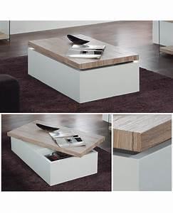Table Basse Blanc Laqué Et Bois : table basse rangement table basse chene massif trendsetter ~ Teatrodelosmanantiales.com Idées de Décoration