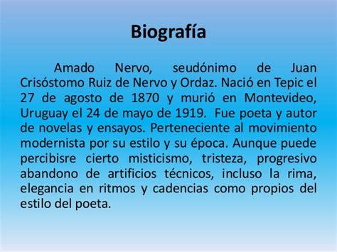 Biografia De Resumen by Amado Nervo Y El Modernismo