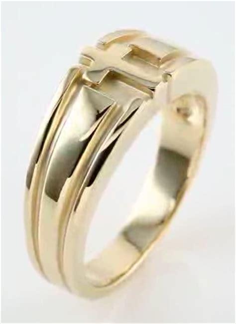 men s cross wedding ring band 14 kt gold size 10