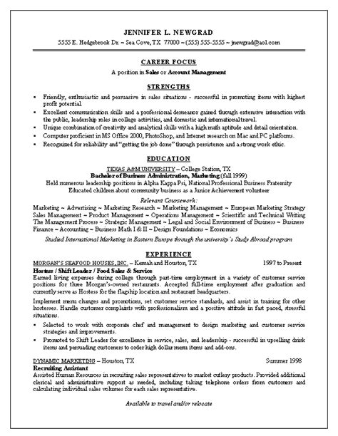 Recent Graduate Resume Template by Us Standard Resume Sle Apa Exle