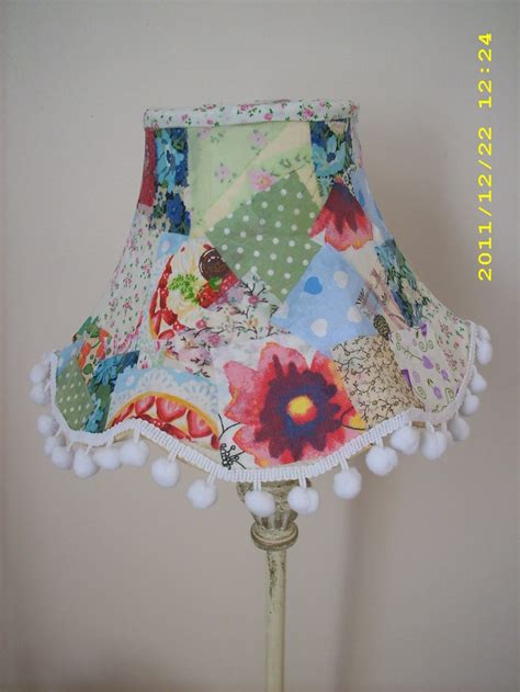 diy patchwork lampshade  fabric scraps mod podge