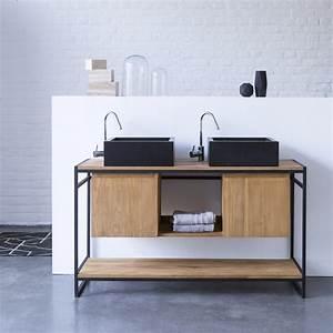 meuble salle de bain vente de meubles en teck et mtal 140 With meuble salle de bain bois et metal