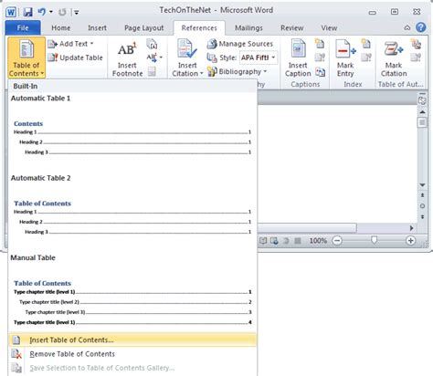 microsoft word table of contents ms word 2010 create a table of contents