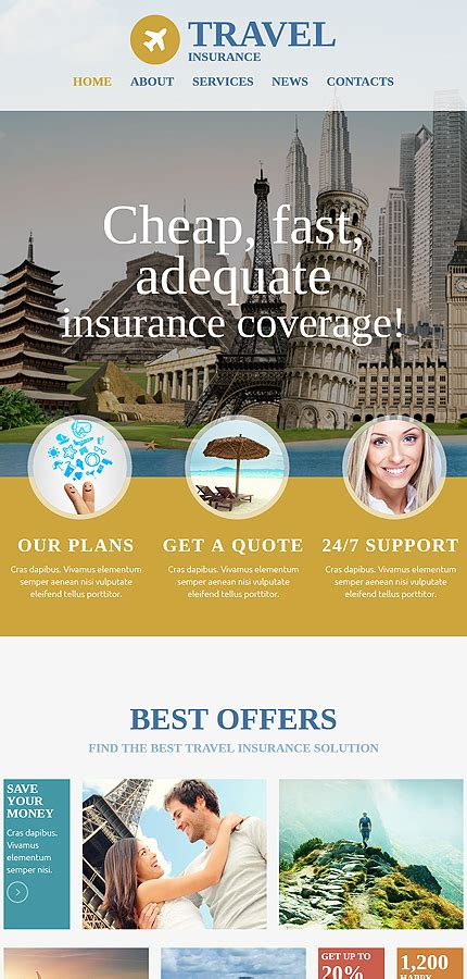 Travel Insurance Website Template by Travel Website Template 54557 Templates