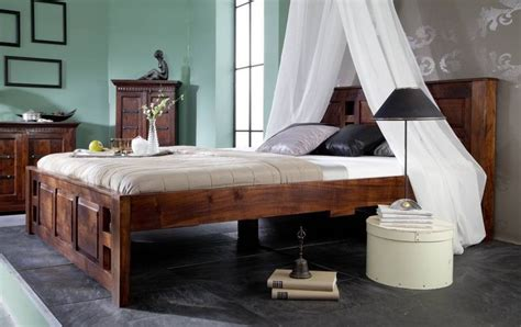 Massivholz Kolonialstil Bett 160x200 Classic Akazie Oxford