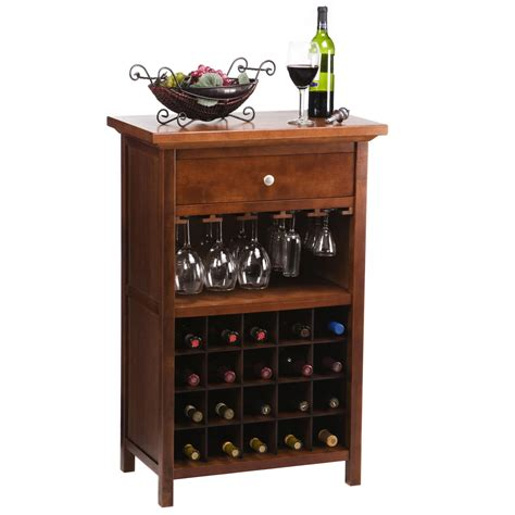 Winsome Vicenza 20bottle Wine Table With Glass Storage