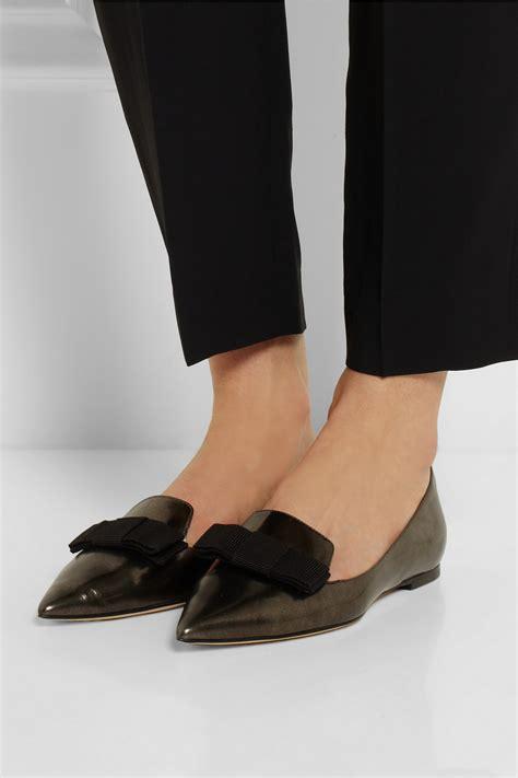jimmy choo gala mirrored leather point toe flats  black