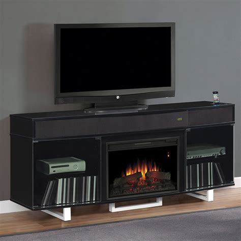 Furniture. Electric Fireplace With TV Stand Using Glass