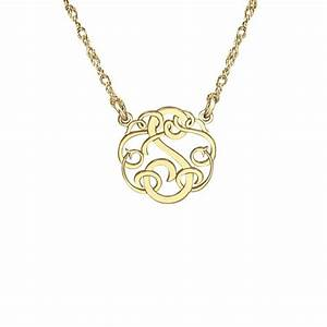 single initial monogram necklace 15mm 88243 personalized With single letter necklace