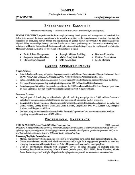 Free Executive Resume Format by Executive Resume Template Word Free Sles Exles