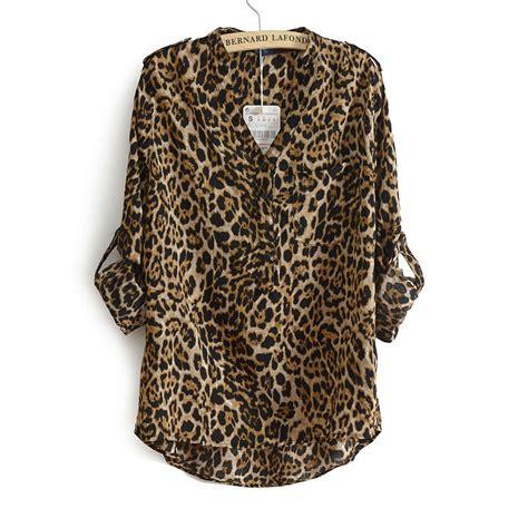 leopard print blouses casual cotton sleeve leopard print blouse v neck