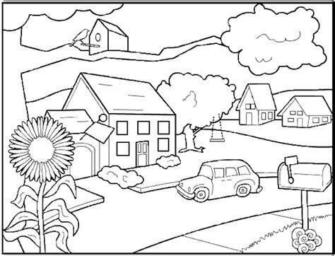 gambar mewarnai lingkungan rumah serat