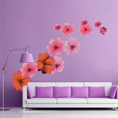 hibiscus flower wall decal floral wall decal murals