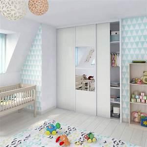 Porte de placard coulissante effet frene blanc spaceo l67 for Luminaire chambre enfant avec matelas babychou